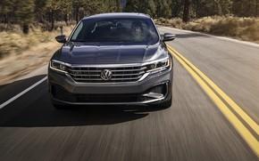 Picture Volkswagen, sedan, front view, Passat, 2020, 2019, dark gray, US Version