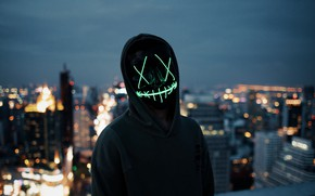 Picture lights, dark, wallpaper, blur, neon, situations, anonymous, mask, silhouette, hood, 4k ultra hd background, city …
