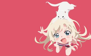 Picture girl, pink background, animal