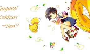 Picture girl, leaves, green eyes, bangs, the demon-Fox, youkai, chopsticks, ramen, Inugami, Gugure! Kokkuri-san!, by Miwa …