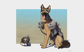 Picture Minimalism, Dog, Shepherd, Fallout, Art, Shepherd, Dog, German shepherd