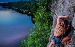 Picture girl, landscape, nature, rock, lake, sport, Canada, Ontario, hide
