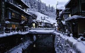 Picture winter, snow, landscape, home, Japan, lights, bridges, source, hotels, Yamagata, Ginzan Hot Spring Bath