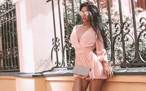 Picture girl, dress, legs, photo, photographer, model, brunette, necklace, portrait, minidress, sunglases, Andrew Morozow