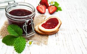 Picture bread, jam, strawberry, jar, Olena Rudo