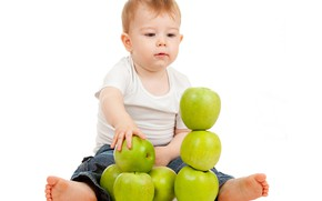 Picture apples, boy, white background