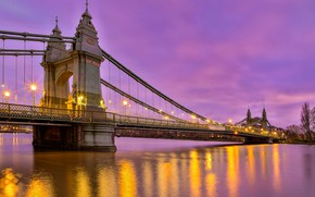 Picture bridge, river, England, London, the evening, lights, London, England, River Thames, Hammersmith Bridge, The River …