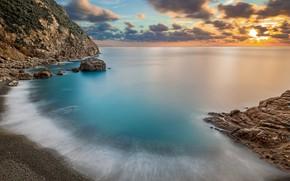 Picture sea, beach, the sky, the sun, clouds, landscape, sunset, nature, pebbles, stones, rocks, shore, coast, …