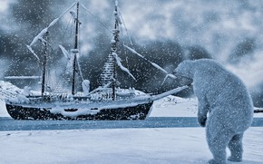 Picture winter, snow, rendering, ship, polar bear, Arctic