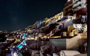 Picture night, lights, home, Santorini, Greece, slope, Thira