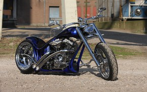 Picture Harley Davidson, Harley-Davidson, Custom, Motorcycle, Thunderbike, By Thunderbike, Blue Flames