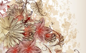 Picture flowers, retro, background, vintage, floral