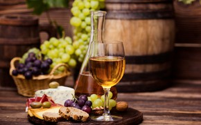 Picture wine, cheese, bread, grapes, wood, cutting, decanter, cutting Board