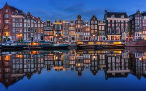 Picture night, lights, river, home, Amsterdam, Netherlands