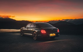 Picture sunset, lights, Bentley, the evening, rear view, Flying Spur, 2020, Blackline