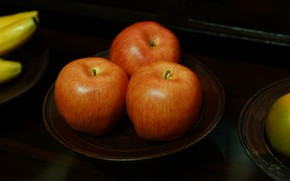 Picture the dark background, table, apples, food, plate, bananas, red, three, fruit, still life, orange, saucer, ...