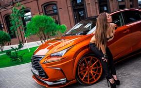 Picture machine, auto, chest, girl, pose, long hair, pants, Valeria, Sergey Yakimenko, Lexus NX 300H