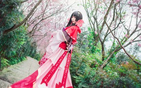 Picture greens, look, girl, trees, flowers, branches, red, cherry, pose, style, background, red, spring, makeup, garden, …