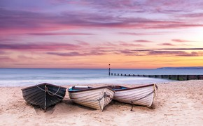 Picture sea, sunset, shore, boats