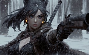 Picture cold, gun, katana, duel, art, arm, the fight, in the woods, guweiz, woman warrior, the …