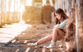 Picture girl, light, pose, hay, legs, Denis Tretyakov