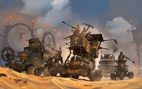 Picture people, fire, transport, desert, Dark Republic