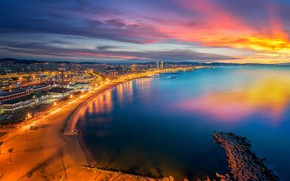 Picture the sky, sunset, the city, panorama, Spain, Barcelona