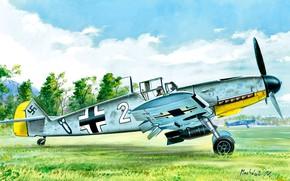 Picture Messerschmitt, JG26 Schlageter, Friedrich, Bf-109F, Bf.109F-4, Fighter-bomber, 10.(jabo)/JG26