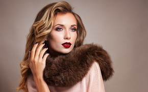 Picture look, girl, pose, style, model, makeup, hairstyle, fur, curls, manicure, Elena Kharichkina