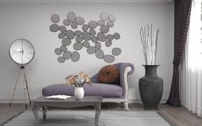 Picture design, interior, vase, living room, decor