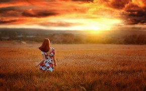 Picture field, the sky, girl, sunset, nature, pose, photo, back, dress, Renat Fotov