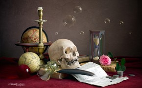 Picture bubbles, pen, glass, rose, skull, coins, globe, hourglass