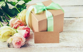 Picture flowers, gift, roses, tape, bow, birthday