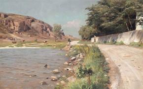 Wallpaper 1918, Lady progulyala on the lake, Hammers, A lady taking a stroll by a lake ...