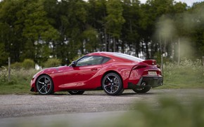 Picture asphalt, trees, red, coupe, Toyota, side view, Supra, the fifth generation, mk5, double, 2019, UK …