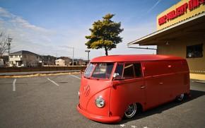 Picture Volkswagen, Red, Bus