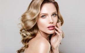 Picture girl, face, portrait, makeup, blonde, Korabkova