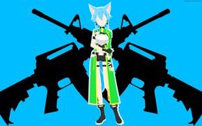 Picture girl, weapons, minimalism, ears, Sword Art Online, Sword Art Online, Sinon