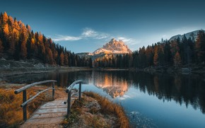 Wallpaper frost, autumn, landscape, mountains, nature, lake, Alps, Italy, the bridge, forest, freezing, the Dolomites, Valentin ...