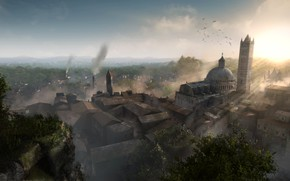 Picture trees, the city, smoke, building, Chronicles of Elyria