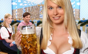 Picture girl, smile, beer