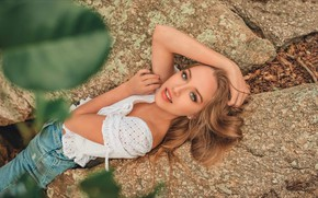 Picture look, leaves, girl, nature, stones, jeans, blouse, Rus