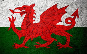 Picture Europe, Flag, Wales, Stone Background, Flags On Stone, Concrete Texture, Welsh Flag, Flag Of Wales, …