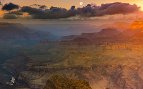 Picture clouds, sunset, mountains, fog, rocks, dawn, the moon, height, haze, USA, canyons, The Grand canyon
