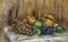 Picture food, picture, fruit, Pierre Auguste Renoir, Pierre Auguste Renoir, Still life with pomegranates and Figs …