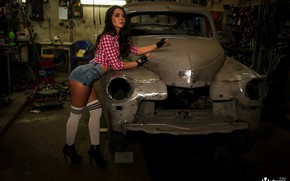 Picture look, sexy, pose, model, shorts, portrait, stockings, garage, makeup, figure, brunette, hairstyle, shoes, gloves, shirt, …