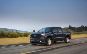 Picture road, asphalt, Chevrolet, pickup, Silverado, dark blue, 2019, RST