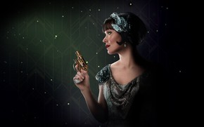 Picture girl, gun, background, Miss Fisher & the Crypt of Tears