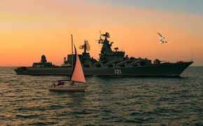 Picture sea, the evening, yacht, Moscow, cruiser, rocket