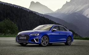 Picture blue, Audi, sedan, Audi A4, Audi S4, 2019, the silhouettes of the mountains